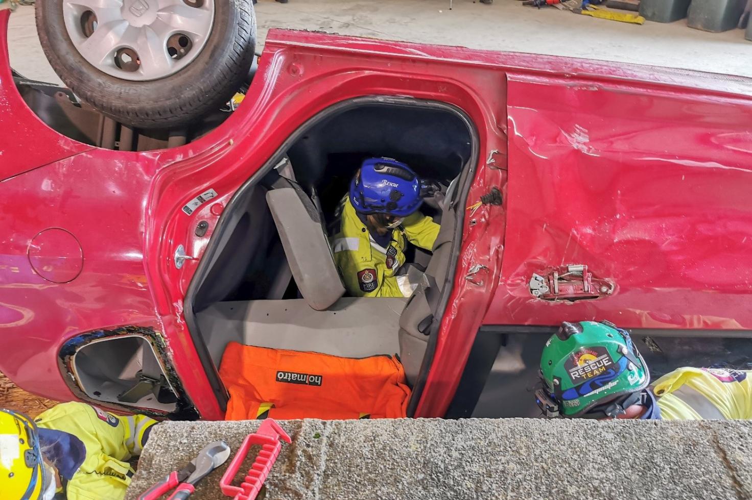 Volunteer fire fighters practise life saving skills