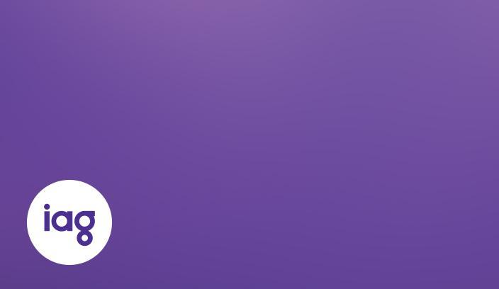 IAG logo on purple background